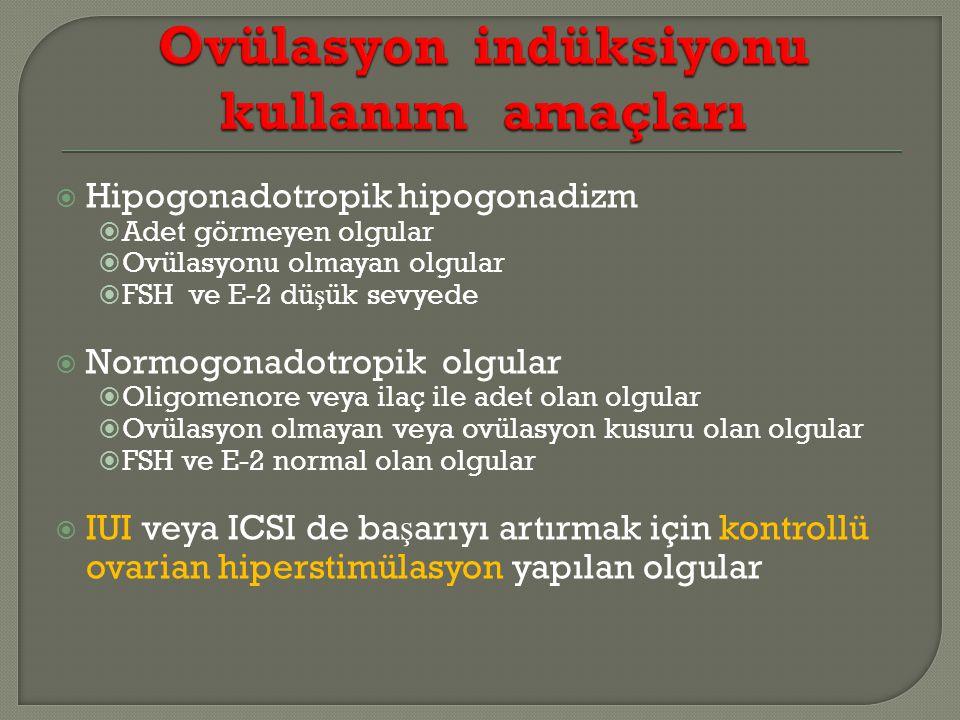  Hipogonadotropik hipogonadizm  Adet görmeyen olgular  Ovülasyonu olmayan olgular  FSH ve E-2 dü ş ük sevyede  Normogonadotropik olgular  Oligomenore veya ilaç ile adet olan olgular  Ovülasyon olmayan veya ovülasyon kusuru olan olgular  FSH ve E-2 normal olan olgular  IUI veya ICSI de ba ş arıyı artırmak için kontrollü ovarian hiperstimülasyon yapılan olgular