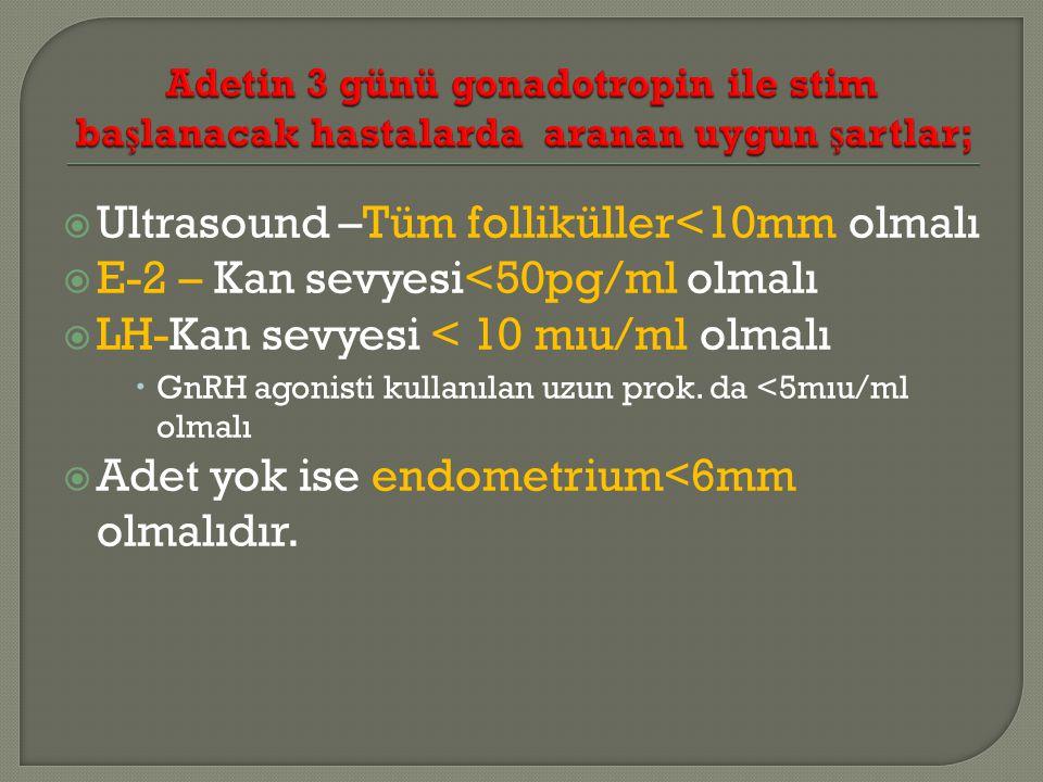  Ultrasound –Tüm folliküller<10mm olmalı  E-2 – Kan sevyesi<50pg/ml olmalı  LH-Kan sevyesi < 10 mıu/ml olmalı  GnRH agonisti kullanılan uzun prok.