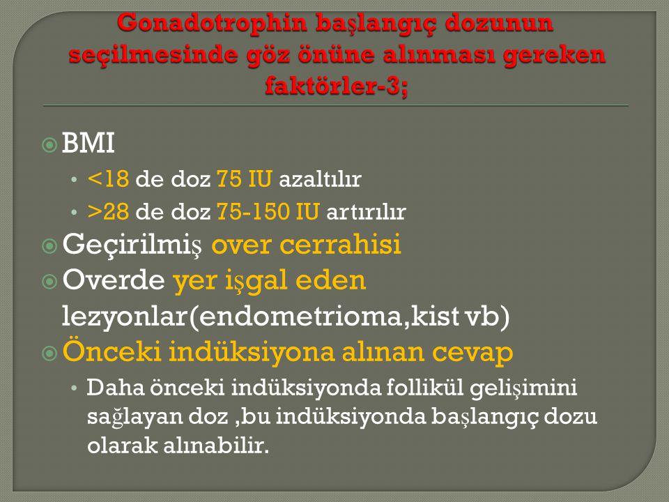  BMI <18 de doz 75 IU azaltılır >28 de doz 75-150 IU artırılır  Geçirilmi ş over cerrahisi  Overde yer i ş gal eden lezyonlar(endometrioma,kist vb)  Önceki indüksiyona alınan cevap Daha önceki indüksiyonda follikül geli ş imini sa ğ layan doz,bu indüksiyonda ba ş langıç dozu olarak alınabilir.