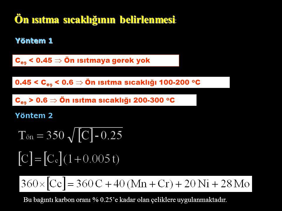 Ön ısıtma sıcaklığının belirlenmesi Ön ısıtma sıcaklığının belirlenmesi : C eş < 0.45  Ön ısıtmaya gerek yok Bu bağıntı karbon oranı % 0.25'e kadar o