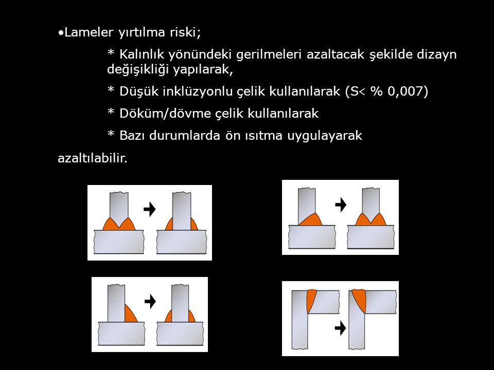 Lameler yırtılma riski; * Kalınlık yönündeki gerilmeleri azaltacak şekilde dizayn değişikliği yapılarak, * Düşük inklüzyonlu çelik kullanılarak (S %