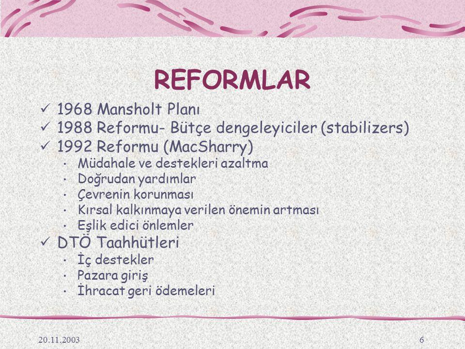 20.11.20036 REFORMLAR 1968 Mansholt Planı 1988 Reformu- Bütçe dengeleyiciler (stabilizers) 1992 Reformu (MacSharry) Müdahale ve destekleri azaltma Doğ