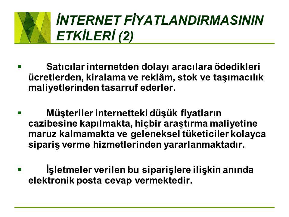 İNTERNET FİYATLANDIRMASININ ETKİLERİ (2)  Satıcılar internetden dolayı aracılara ödedikleri ücretlerden, kiralama ve reklâm, stok ve taşımacılık mali