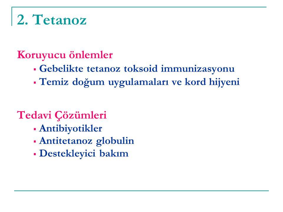 2. Tetanoz Koruyucu önlemler  Gebelikte tetanoz toksoid immunizasyonu  Temiz doğum uygulamaları ve kord hijyeni Tedavi Çözümleri  Antibiyotikler 
