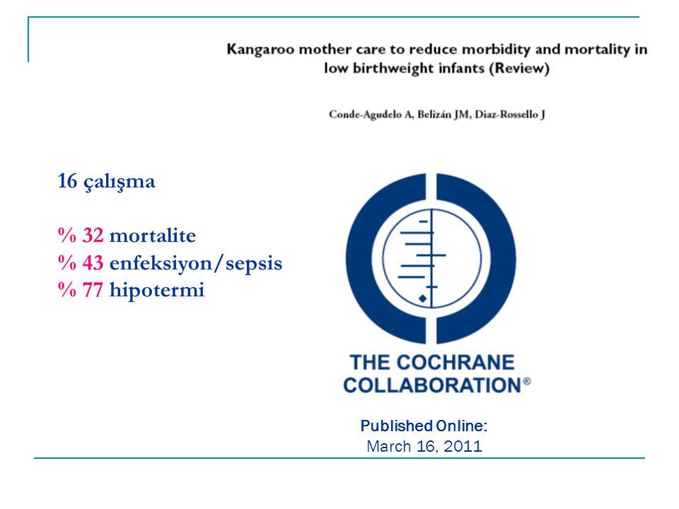 16 çalışma % 32 mortalite % 43 enfeksiyon/sepsis % 77 hipotermi Published Online: March 16, 2011