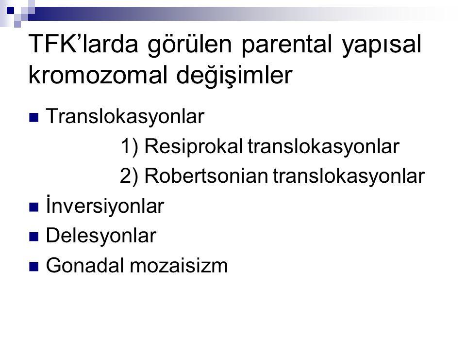 TFK'larda görülen parental yapısal kromozomal değişimler Translokasyonlar 1) Resiprokal translokasyonlar 2) Robertsonian translokasyonlar İnversiyonla