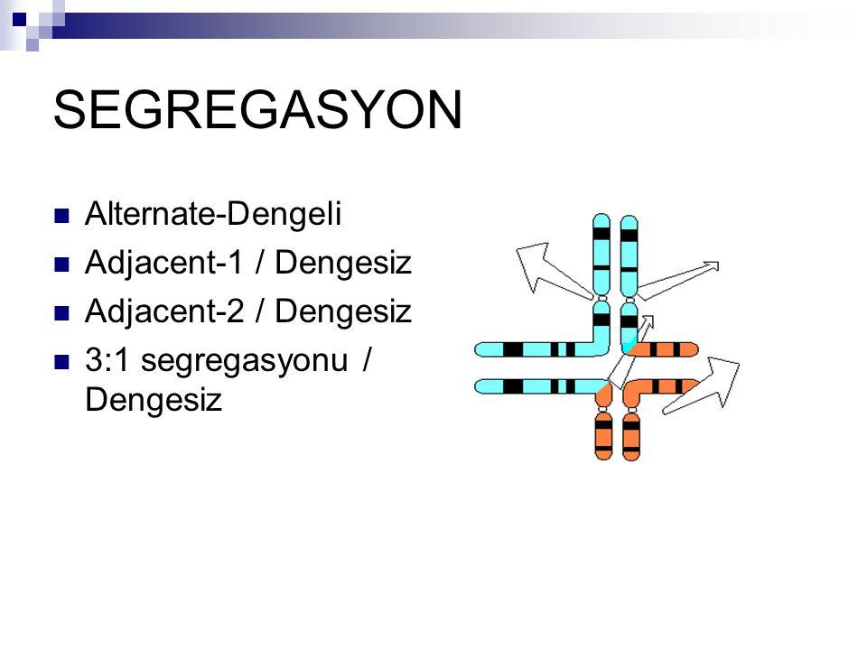 SEGREGASYON Alternate-Dengeli Adjacent-1 / Dengesiz Adjacent-2 / Dengesiz 3:1 segregasyonu / Dengesiz