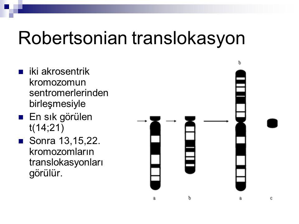 Robertsonian translokasyon iki akrosentrik kromozomun sentromerlerinden birleşmesiyle En sık görülen t(14;21) Sonra 13,15,22. kromozomların translokas