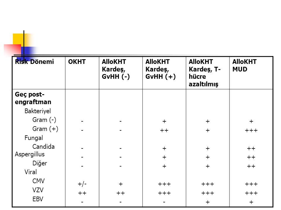 Risk DönemiOKHTAlloKHT Kardeş, GvHH (-) AlloKHT Kardeş, GvHH (+) AlloKHT Kardeş, T- hücre azaltılmış AlloKHT MUD Geç post- engraftman Bakteriyel Gram (-) Gram (+) Fungal Candida Aspergillus Diğer Viral CMV VZV EBV - +/- ++ - + ++ - + ++ + +++ - + +++ + +++ ++ +++ +