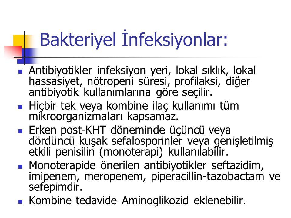 Bakteriyel İnfeksiyonlar: Antibiyotikler infeksiyon yeri, lokal sıklık, lokal hassasiyet, nötropeni süresi, profilaksi, diğer antibiyotik kullanımlarına göre seçilir.