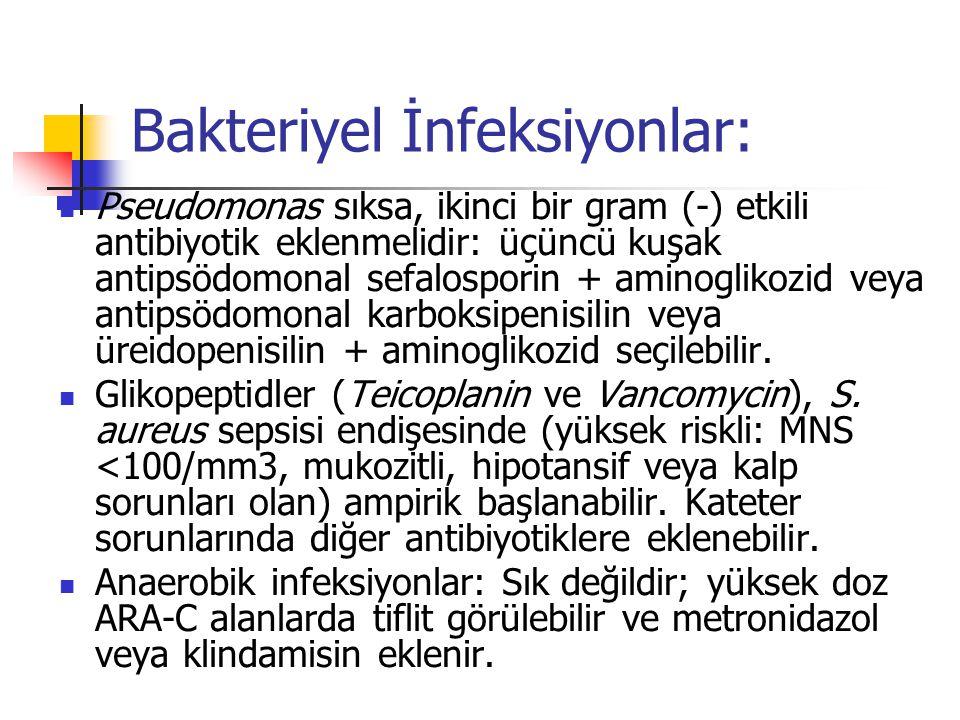 Bakteriyel İnfeksiyonlar: Pseudomonas sıksa, ikinci bir gram (-) etkili antibiyotik eklenmelidir: üçüncü kuşak antipsödomonal sefalosporin + aminoglikozid veya antipsödomonal karboksipenisilin veya üreidopenisilin + aminoglikozid seçilebilir.