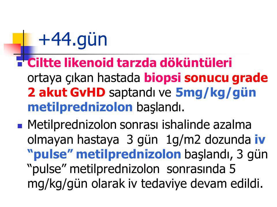 +44.gün Ciltte likenoid tarzda döküntüleri ortaya çıkan hastada biopsi sonucu grade 2 akut GvHD saptandı ve 5mg/kg/gün metilprednizolon başlandı.