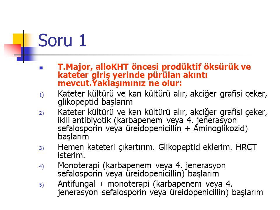 Soru 1 T.Major, alloKHT öncesi prodüktif öksürük ve kateter giriş yerinde pürülan akıntı mevcut.Yaklaşımınız ne olur: 1) Kateter kültürü ve kan kültürü alır, akciğer grafisi çeker, glikopeptid başlarım 2) Kateter kültürü ve kan kültürü alır, akciğer grafisi çeker, ikili antibiyotik (karbapenem veya 4.