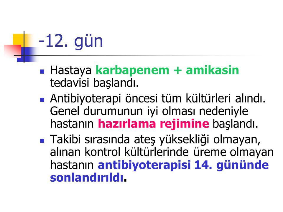 -12.gün Hastaya karbapenem + amikasin tedavisi başlandı.