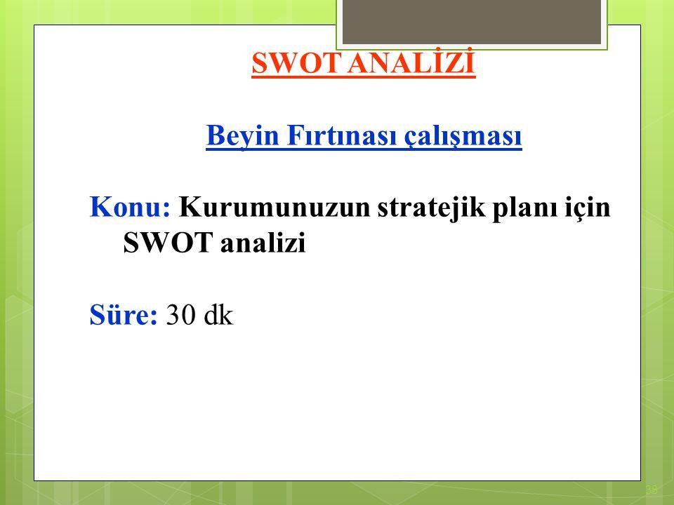 38 SWOT ANALİZİ Beyin Fırtınası çalışması Konu: Kurumunuzun stratejik planı için SWOT analizi Süre: 30 dk