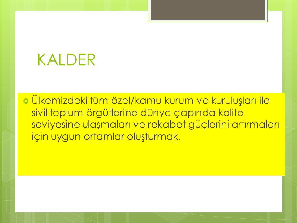 KALDER  Ülkemizdeki tüm özel/kamu kurum ve kuruluşları ile sivil toplum örgütlerine dünya çapında kalite seviyesine ulaşmaları ve rekabet güçlerini artırmaları için uygun ortamlar oluşturmak.