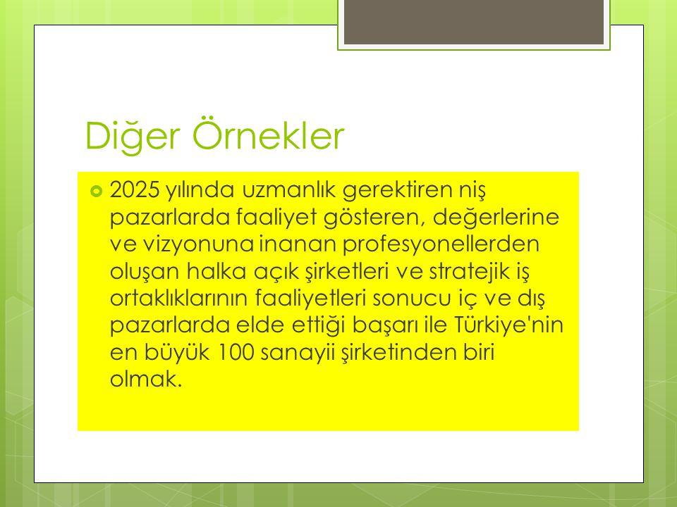 Diğer Örnekler  2025 yılında uzmanlık gerektiren niş pazarlarda faaliyet gösteren, değerlerine ve vizyonuna inanan profesyonellerden oluşan halka açık şirketleri ve stratejik iş ortaklıklarının faaliyetleri sonucu iç ve dış pazarlarda elde ettiği başarı ile Türkiye nin en büyük 100 sanayii şirketinden biri olmak.