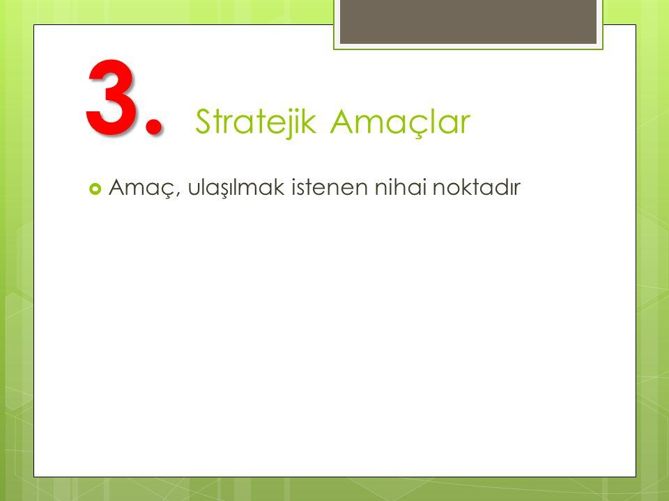 3. 3. Stratejik Amaçlar  Amaç, ulaşılmak istenen nihai noktadır