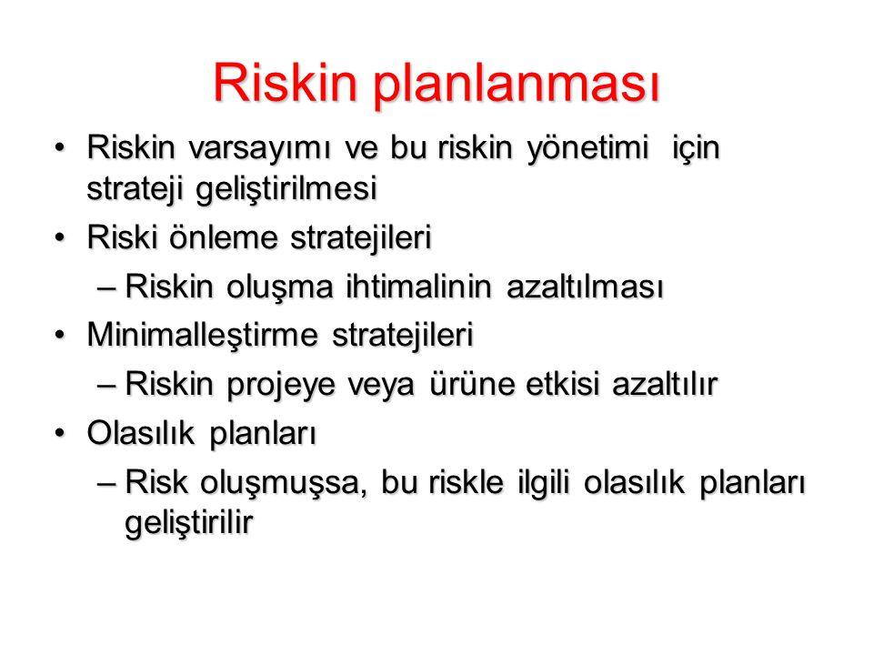 Riskin planlanması Riskin varsayımı ve bu riskin yönetimi için strateji geliştirilmesiRiskin varsayımı ve bu riskin yönetimi için strateji geliştirilm