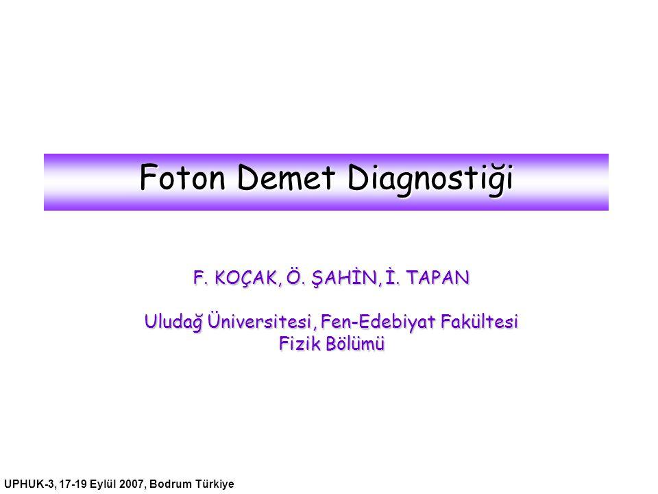 UPHUK-3, 17-19 Eylül 2007, Bodrum Türkiye Foton Demet Diagnostiği F. KOÇAK, Ö. ŞAHİN, İ. TAPAN Uludağ Üniversitesi, Fen-Edebiyat Fakültesi Fizik Bölüm