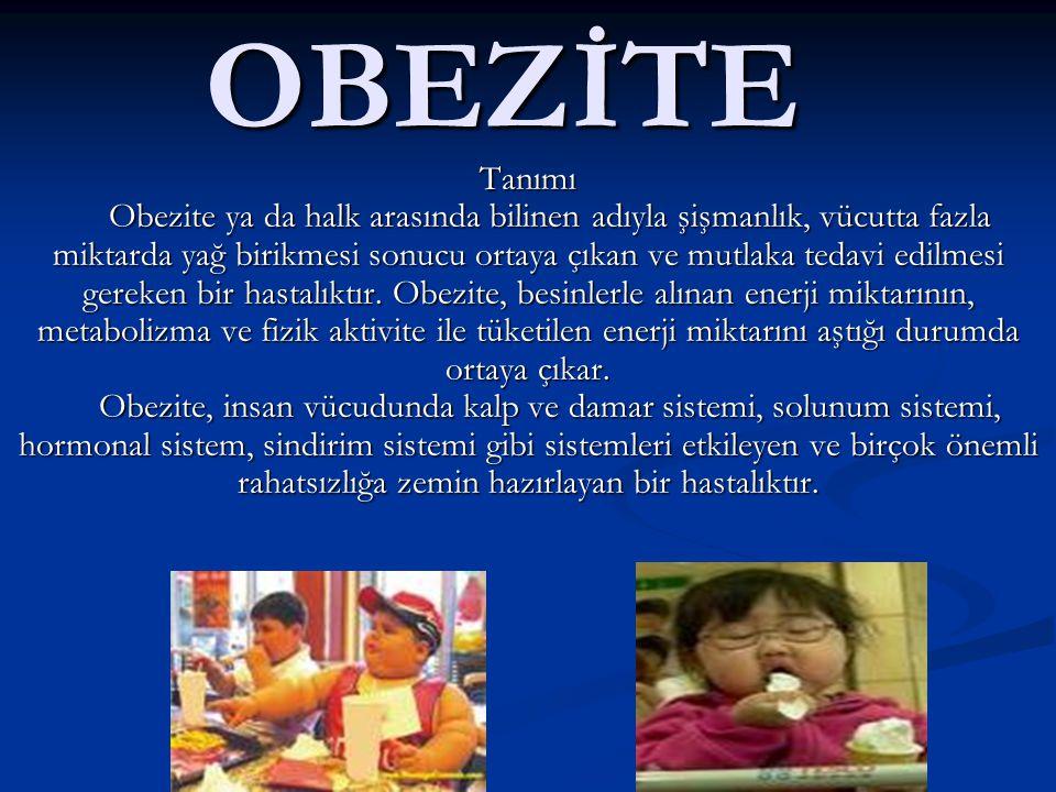 OBEZİTE Tanımı Obezite ya da halk arasında bilinen adıyla şişmanlık, vücutta fazla miktarda yağ birikmesi sonucu ortaya çıkan ve mutlaka tedavi edilme