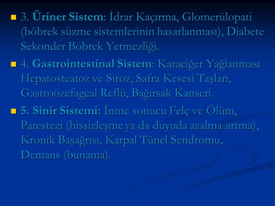 3. Üriner Sistem: İdrar Kaçırma, Glomerülopati (böbrek süzme sistemlerinin hasarlanması), Diabete Sekonder Böbrek Yetmezliği. 3. Üriner Sistem: İdrar
