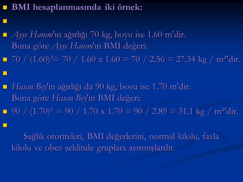 BMI hesaplanmasında iki örnek: BMI hesaplanmasında iki örnek: Ayşe Hanım'ın ağırlığı 70 kg, boyu ise 1.60 m'dir. Buna göre Ayşe Hanım'ın BMI değeri: A