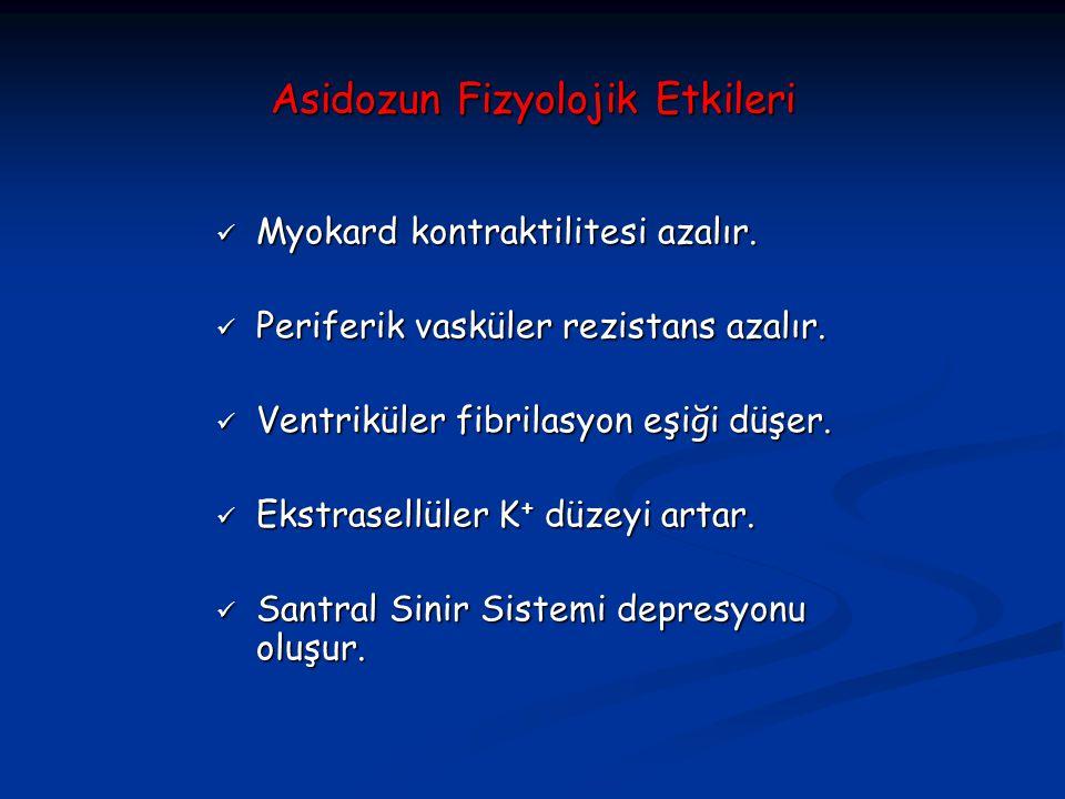 Asidozun Fizyolojik Etkileri Myokard kontraktilitesi azalır. Myokard kontraktilitesi azalır. Periferik vasküler rezistans azalır. Periferik vasküler r