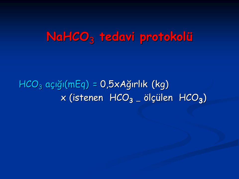 NaHCO 3 tedavi protokolü HCO 3 açığı(mEq) = 0,5xAğırlık (kg)  HCO 3 açığı(mEq) = 0,5xAğırlık (kg)  x (istenen HCO 3  ölçülen HCO 3 )  x (istenen H