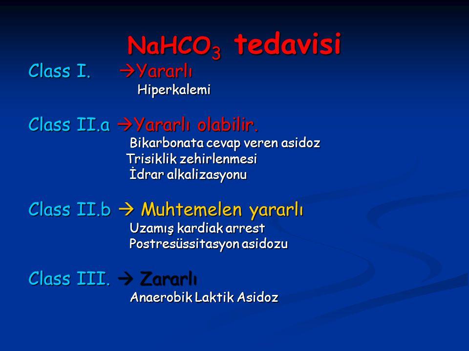 NaHCO 3 tedavisi Class I.  Yararlı Hiperkalemi Hiperkalemi Class II.a  Yararlı olabilir. Bikarbonata cevap veren asidoz Bikarbonata cevap veren asid