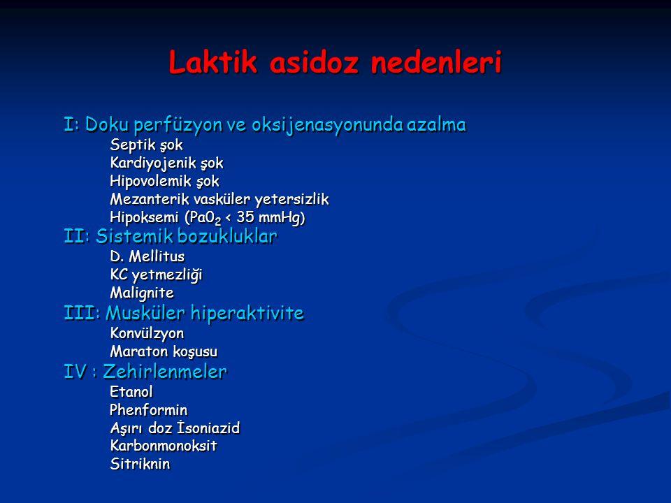 Laktik asidoz nedenleri I: Doku perfüzyon ve oksijenasyonunda azalma I: Doku perfüzyon ve oksijenasyonunda azalma Septik şok Septik şok Kardiyojenik ş
