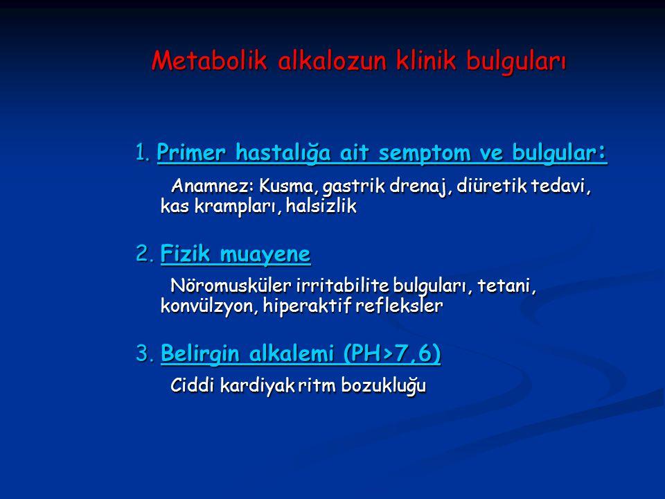 Metabolik alkalozun klinik bulguları 1. Primer hastalığa ait semptom ve bulgular : Anamnez: Kusma, gastrik drenaj, diüretik tedavi, kas krampları, hal