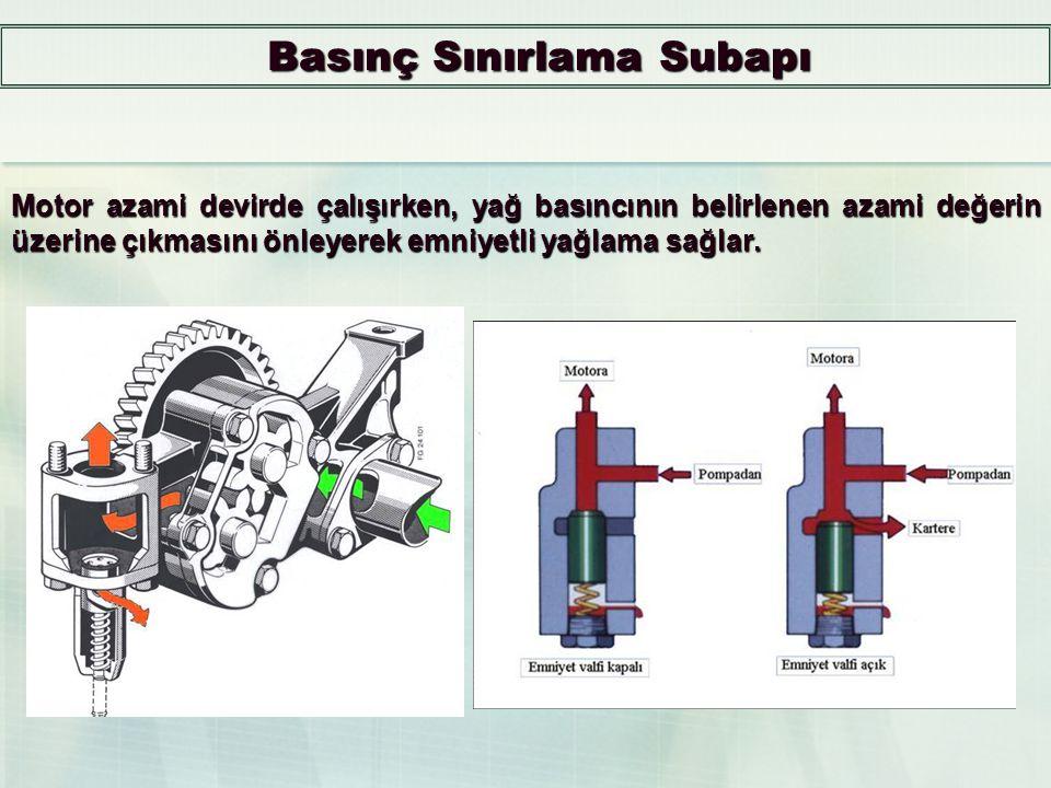 Yağlama Devresi Basınç Kontrolü Motor yağlama sistemindeki basınç ortalama 0.5 - 6 kg/cm 2 civarındadır. Basıncın bu sınırı aşmaması için sistemde bas