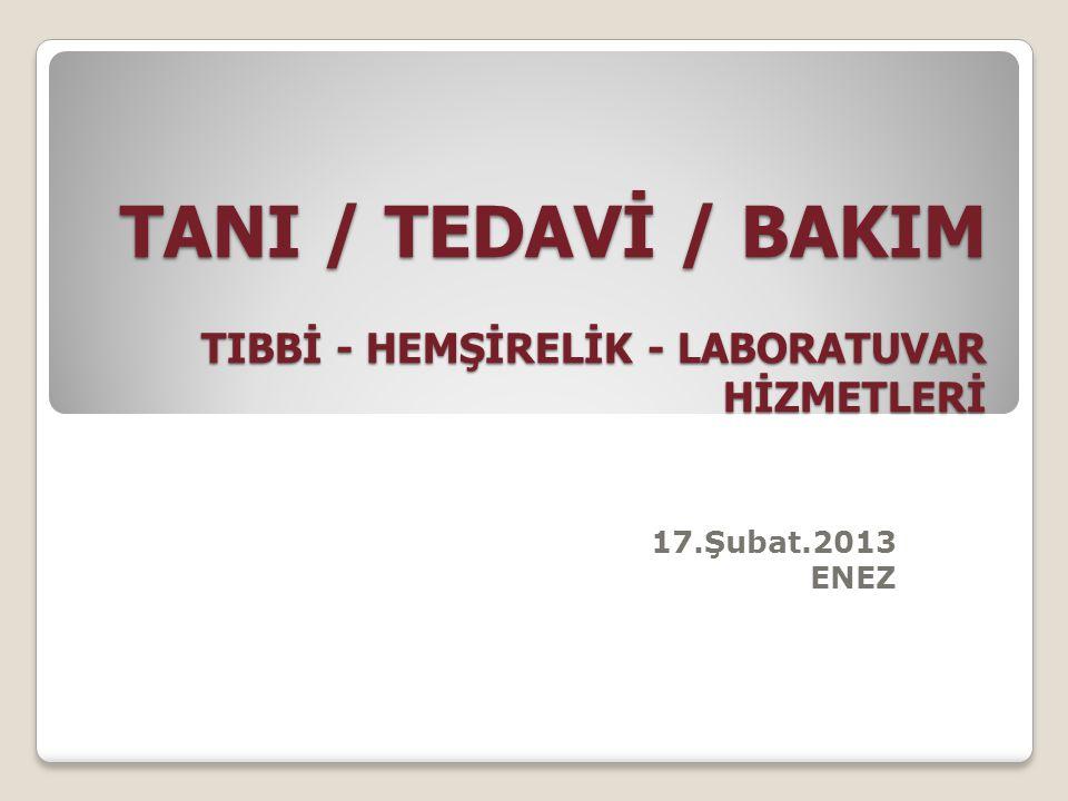 TANI / TEDAVİ / BAKIM TIBBİ - HEMŞİRELİK - LABORATUVAR HİZMETLERİ 17.Şubat.2013 ENEZ