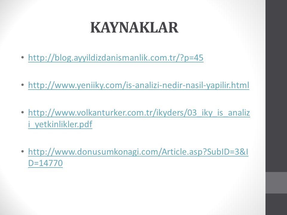 KAYNAKLAR http://blog.ayyildizdanismanlik.com.tr/?p=45 http://www.yeniiky.com/is-analizi-nedir-nasil-yapilir.html http://www.volkanturker.com.tr/ikyde