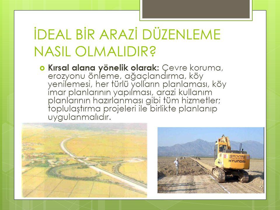 İDEAL BİR ARAZİ DÜZENLEME NASIL OLMALIDIR?  Kırsal alana yönelik olarak: Çevre koruma, erozyonu önleme, ağaçlandırma, köy yenilemesi, her türlü yolla