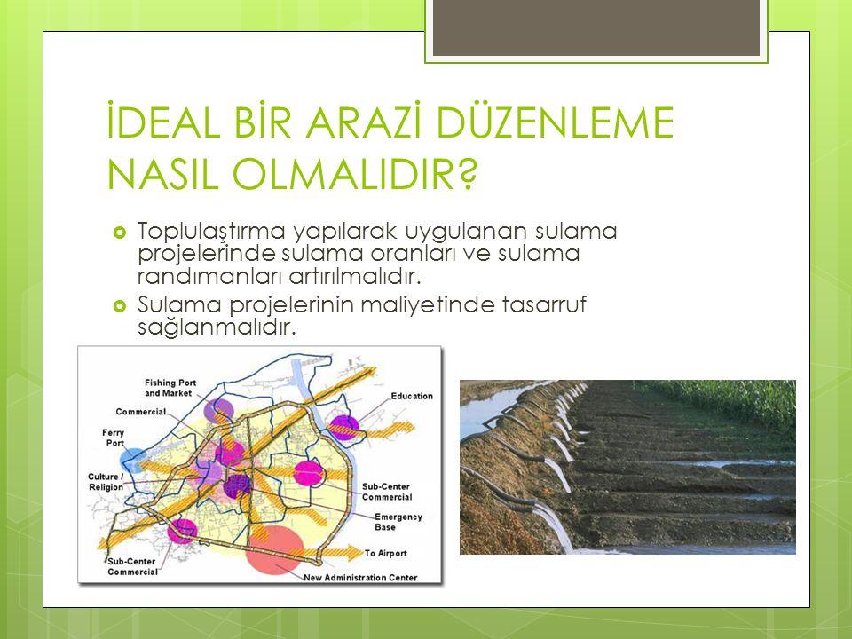 İDEAL BİR ARAZİ DÜZENLEME NASIL OLMALIDIR?  Toplulaştırma yapılarak uygulanan sulama projelerinde sulama oranları ve sulama randımanları artırılmalıd