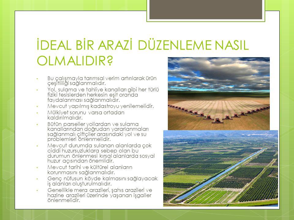 İDEAL BİR ARAZİ DÜZENLEME NASIL OLMALIDIR? Bu çalışmayla tarımsal verim artırılarak ürün çeşitliliği sağlanmalıdır. Yol, sulama ve tahliye kanalları g