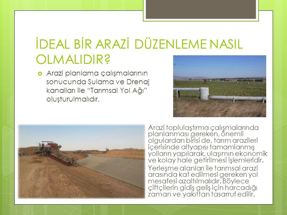 """İDEAL BİR ARAZİ DÜZENLEME NASIL OLMALIDIR?  Arazi planlama çalışmalarının sonucunda Sulama ve Drenaj kanalları ile """"Tarımsal Yol Ağı"""" oluşturulmalıdı"""