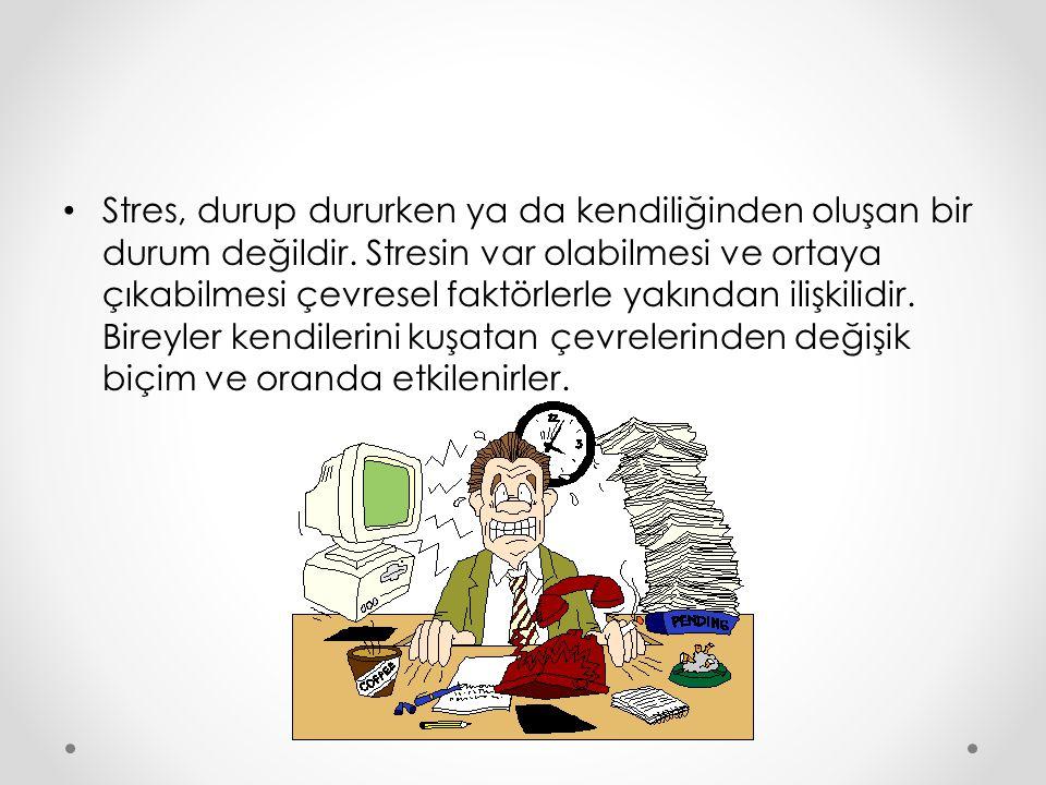 Strese Sebep Olan Faktörler(Stresörler) Bireyde stres oluşturan etmenler «Stresör» olarak tanımlanmaktadır.