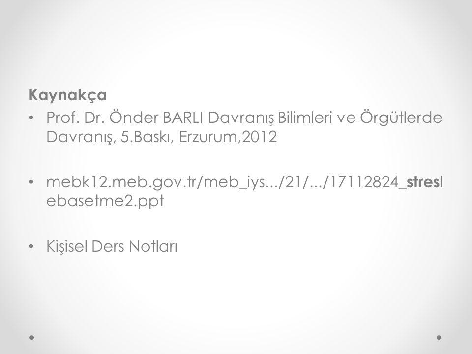 Kaynakça Prof. Dr. Önder BARLI Davranış Bilimleri ve Örgütlerde Davranış, 5.Baskı, Erzurum,2012 mebk12.meb.gov.tr/meb_iys.../21/.../17112824_ stres l