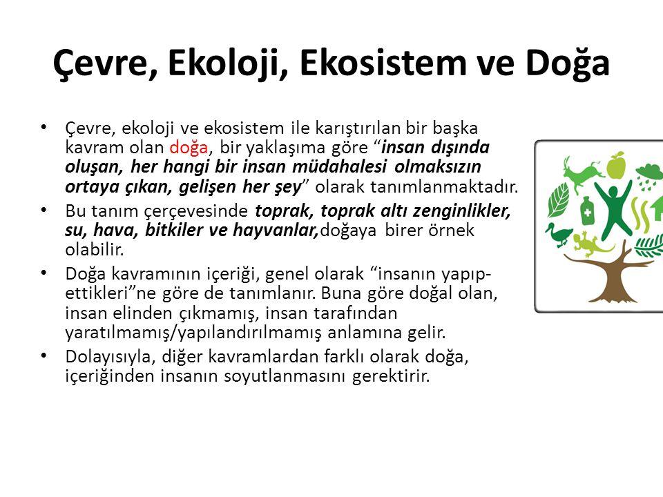"""Çevre, Ekoloji, Ekosistem ve Doğa Çevre, ekoloji ve ekosistem ile karıştırılan bir başka kavram olan doğa, bir yaklaşıma göre """"insan dışında oluşan, h"""