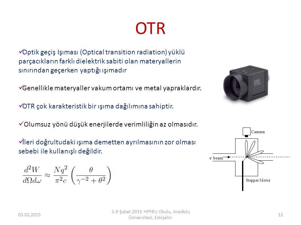 OTR 03.02.2015 1-9 Şubat 2015 HPFBU Okulu, Anadolu Üniversitesi, Eskişehir 12 e - beam Camera Stepper Motor Optik geçiş Işıması (Optical transition ra