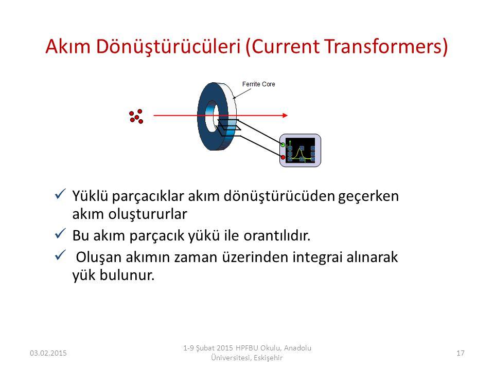 Akım Dönüştürücüleri (Current Transformers) Yüklü parçacıklar akım dönüştürücüden geçerken akım oluştururlar Bu akım parçacık yükü ile orantılıdır. Ol