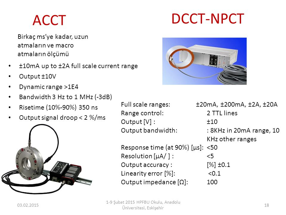 ACCT ±10mA up to ±2A full scale current range Output ±10V Dynamic range >1E4 Bandwidth 3 Hz to 1 MHz (-3dB) Risetime (10%-90%) 350 ns Output signal dr