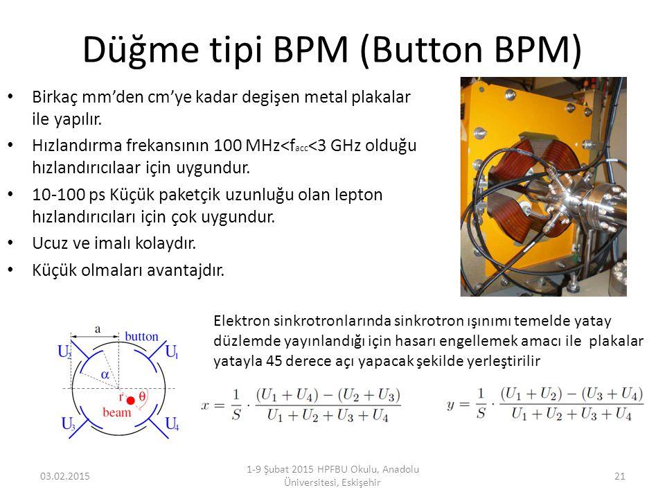 Düğme tipi BPM (Button BPM) Birkaç mm'den cm'ye kadar degişen metal plakalar ile yapılır. Hızlandırma frekansının 100 MHz<f acc <3 GHz olduğu hızlandı