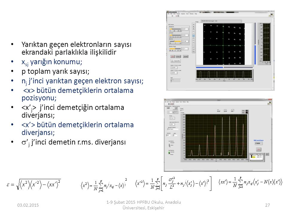 Yarıktan geçen elektronların sayısı ekrandaki parlaklıkla ilişkilidir x sj yarığın konumu; p toplam yarık sayısı; n j j'inci yarıktan geçen elektron s