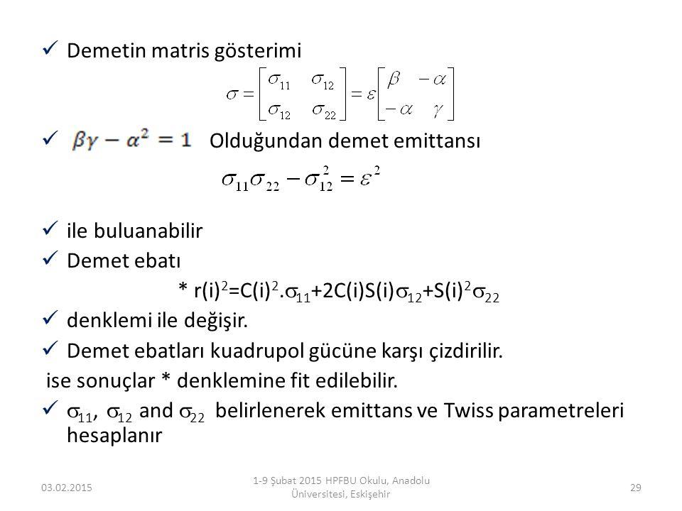 Demetin matris gösterimi Olduğundan demet emittansı ile buluanabilir Demet ebatı * r(i) 2 =C(i) 2.  11 +2C(i)S(i)  12 +S(i) 2  22 denklemi ile deği
