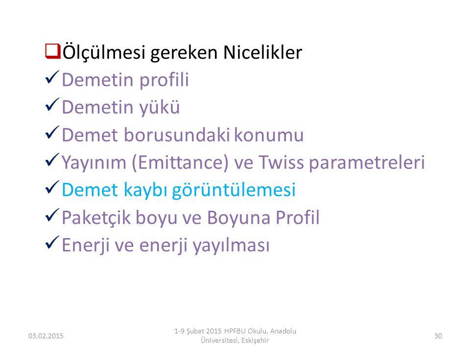  Ölçülmesi gereken Nicelikler Demetin profili Demetin yükü Demet borusundaki konumu Yayınım (Emittance) ve Twiss parametreleri Demet kaybı görüntülem