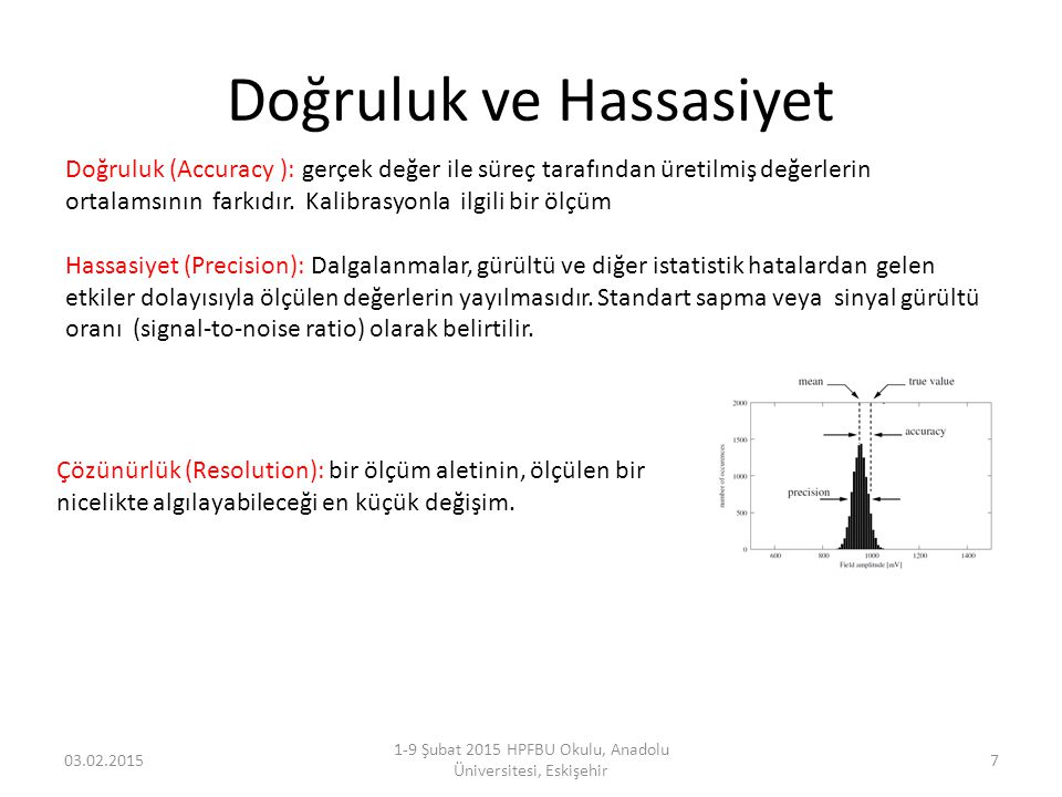 Doğruluk ve Hassasiyet 03.02.2015 1-9 Şubat 2015 HPFBU Okulu, Anadolu Üniversitesi, Eskişehir 7 Doğruluk (Accuracy ): gerçek değer ile süreç tarafında